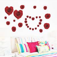 """Интерьерная наклейка на стену """"Красные розы-2"""""""