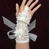 Белые свадебные перчатки без пальцев с цветами и стразами, митенки к платью