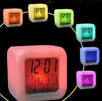 Часы будильник с термометром, ночник, хамелеон, фото 1