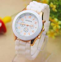 Часы Женева белые, силиконовые