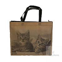 Эко сумка средняя горизонтальная с принтом котят