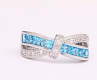 Кольцо покрытие серебро с цирконами р 18 19 код 1132