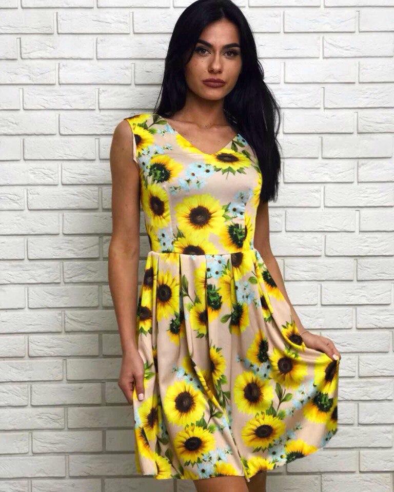 Платье подростковое для девочки с красивым принтом подсолнухов