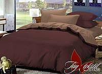 Натуральное постельное белье полуторный набор коричневый Уют