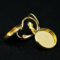 Швензы из Латуни, c Круглой Основой под Кабошон, Цвет: Золото, Размер: 25х14мм, Внутренний Диаметр 12мм, (БА000001556)