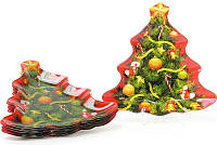 """Набор 6 новогодних тарелок """"Новогодняя Елочка"""" Ø21см, стеклянные"""