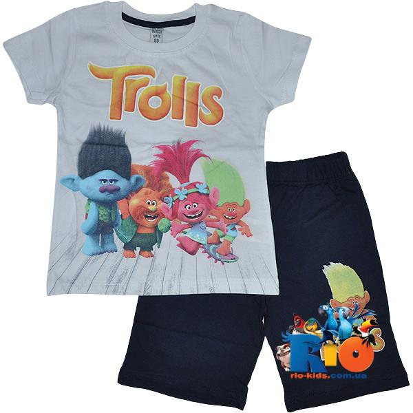 """Летний костюм с ярким принтом """"Funny Trolls"""" , трикотаж , для мальчика с ростом 98-128 см (5 ед. в уп.)"""