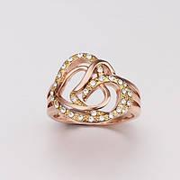 Кольцо переплетение сердец 18К золото проба