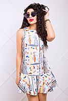 Платье Летнее Трапеция с Ярким Принтом Желтый+Серый р. 42-50