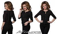Женская черная шифоновая блуза с пуговицами.. Арт-1309/84