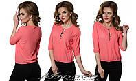 Женская коралловая шифоновая блуза с пуговицами.. Арт-1309/84