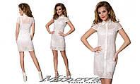 Красивое женское кружевное белое платье на подкладке с воротником . Арт-1312/84