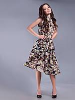 Красивое летнее шифоновое коричневое платье с принтом. Арт-1315/84