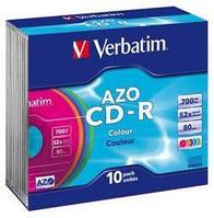 (43415)Диск CD-R,700Mb,52х,80min, Color, Slim