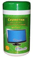 Серветки для екранів та оптики, вологі, 100 шт., в круглій тубі