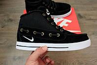 Мужские зимние кроссовки Nike High Top Fur высокие черные замша мех