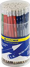 Олівець графітовий НВ, асорті, з гумкою, туба