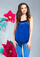 Молодежная стильная летняя атласная синяя майка. Арт-1318/84