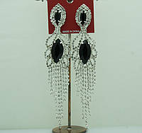 658 Очень длинные серьги- подвески на выпускной или свадьбу с белыми стразами и черными камнями.