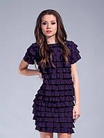 Красивое женское трикотажное короткое фиолетовое платье с воланами. Арт-1320/84