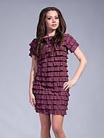 Красивое женское трикотажное короткое платье с воланами, цвет-фрез. Арт-1320/84