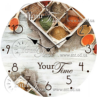 Часы круглые настенные стекло 28 см Кухня SNT 01-329