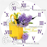 Часы круглые настенные стекло 28 см Цветы SNT 01-372