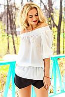 Шифоновая белая блуза Фаридейн Jadone Fashion 42-50 размеры