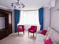 Зал: оформление комбинированные шторы, тюль, планка - ламбрекен, подхваты, декоративные подушки