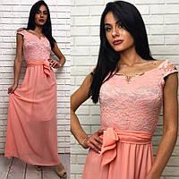 Длинное вечернее выпускное платье шифоновое с гепюром персиковое