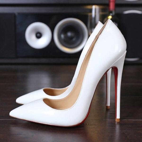 2a66bf8eb Белые женские туфли-лодочки с красной подошвой, цена 1 099 грн., купить в  Киеве — Prom.ua (ID#535026460)