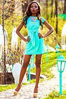 Льняное женское бирюзовое платье Кора Jadone Fashion 42-48 размеры