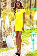Льняное женское желтое платье Кора Jadone Fashion 42-48 размеры