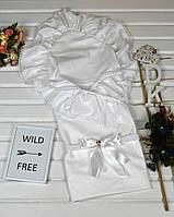 Белоснежный летний конверт-одеяло с уголком на выписку. Качество!