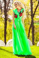 Длинное женское салатовое платье Фико Jadone Fashion 42-50 размеры