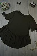 Женская блуза с асимметричной  баской и бантиком на рукаве Италия, фото 1