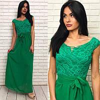 Длинное вечернее выпускное платье шифоновое с гепюром зелёное
