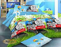 Детское постельное бельё 3D Паравозик Томас 150*220  (11024) Ранфорс