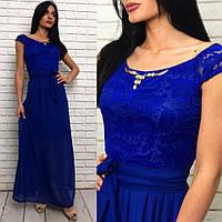 Длинное вечернее выпускное платье шифоновое с гепюром синее 42 44 46 48