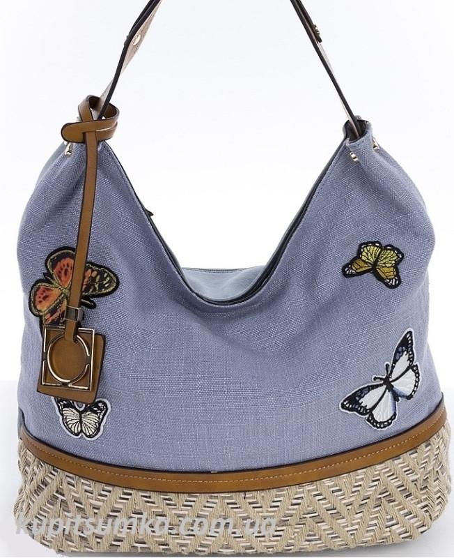 7b1d972e5a7f Женская синяя сумка с вышивкой в виде бабочек - Интернет-магазин стильных  сумок