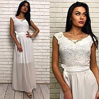 Длинное вечернее выпускное платье шифоновое с гепюром белое 42 44 46 48