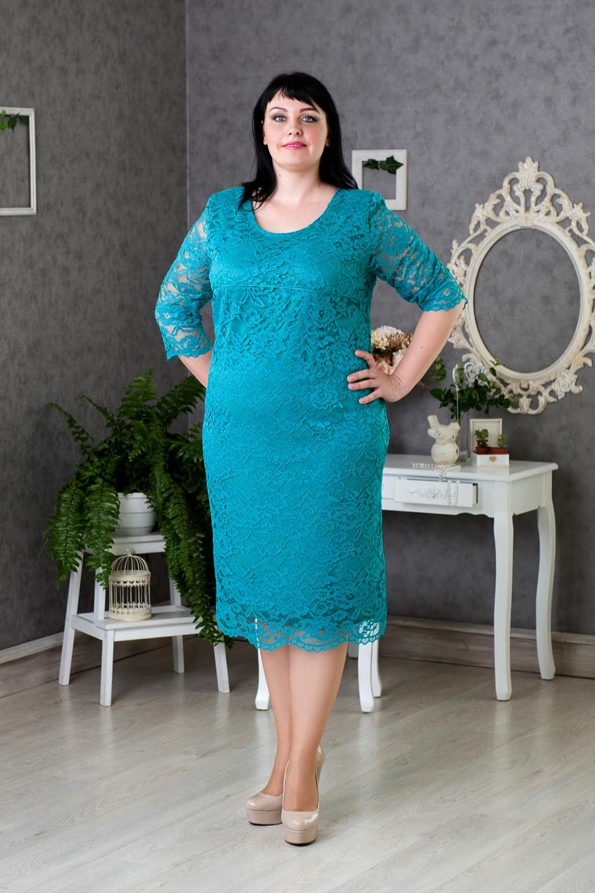 Бирюзовое платье размер 52