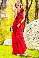 Длинное женское красное платье Фико Jadone Fashion 42-50 размеры