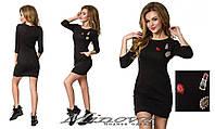 """Красивое женское короткое черное платье с небольшой вставкой """"помадка,губки"""". Арт-1323/84"""