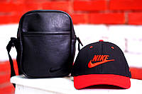 Кепка, бейсболка мужская, летняя, весенняя. Черны+ красный Nike