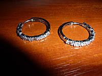 Серьги-кольца с цирконами