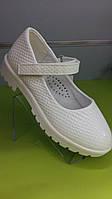 Детские туфли на девочку белые под кожу крокодила 27-31