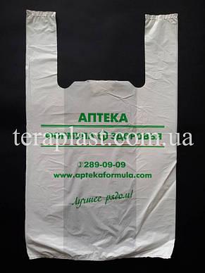 Пакет майка с логотипом 220+(70х2)380, 10 мкм печать 1 цвет , фото 2