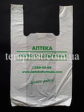Пакет майка с логотипом 220+(70х2)380, 10 мкм печать 1 цвет