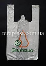 Пакет майка с логотипом 220+(70х2)380, 15 мкм печать 1 цвет